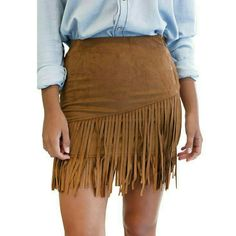 The Empire Fringe Faux Suede Skirt Faux leather, polyester material Highwaist Skirts Pencil