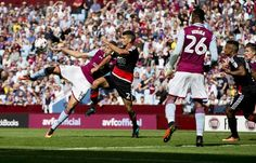 Rudy Gestede of Aston Villa scores against Nottingham Forest in the Championship. The game, between the two clubs who have previously won the European cup, ended 2-2