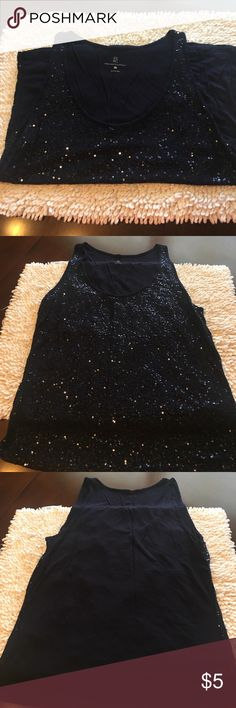 New York and company navy sequin tank New York and company navy sequin tank.  100% rayon.  Great layering piece or to wear alone with a pair of shorts. New York & Company Tops Tank Tops