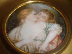 ANTIQUE 1903 MINIATURE PORTRAIT faux IVORY PAINTING EROTIC LOVE COUPLE MEN WOMAN | eBay