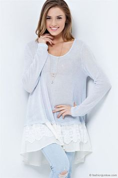 Started From the Bottom Ruffle Knit Long Sleeve Top-Baby Blue