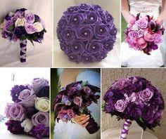 wedding bouquet, purple flowers