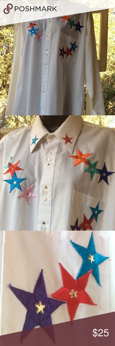 """Western Men's Shirt 17.5 STARS of Colors By Mili White HIP long sleeve Western men's shirt. 17.5"""" neck Large. Colorful embroidery scatter STARS with center brass stars. Collar, button adjustable cuffs. Cowboy up!  Great woman's overshirt too. Xlnt. Mens Mili Shirts Dress Shirts"""