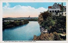 Chattanooga Tennessee TN 1913 Bluff View From County Bridge Vintage Postcard