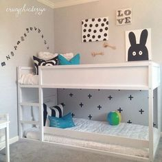 All white IKEA Kura bed for Scandinavian-like kids room - DigsDigs Bunk Beds With Stairs, Kids Bunk Beds, Bunk Bed Crib, Kura Cama Ikea, Ikea Bed, Ikea Bunk Bed Hack, Ikea Hack, Kids Bedroom, Kids Rooms