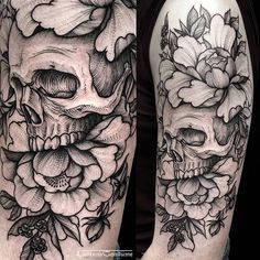 Skull and Peony flowers blackwork, line work, etching tattoo. By Phil TwoRavens Tattoo @lustandconsume on Instagram.