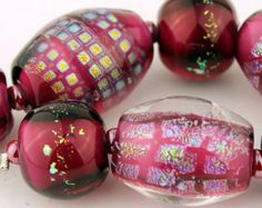 Handmade Lampwork Glass Bead Set Iridescent  Dichroic Glass Hot Pink Fuchsia 'Party Lights'
