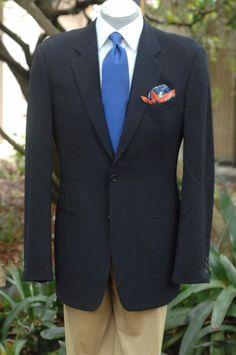 Armani Collezioni $1895 Navy Blue All Season Wool Blazer Sport Coat 42L 42 L #ArmaniCollezioni #TwoButton