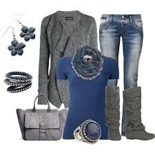 Casual outfits: Casual Weekend Blue and Gray by on Poly. Look Fashion, Fashion Outfits, Womens Fashion, Street Fashion, Fall Winter Outfits, Autumn Winter Fashion, Casual Winter, Mode Ab 50, Casual Dress Outfits