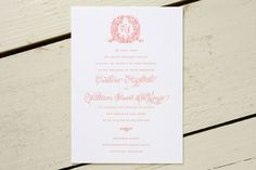 wreathed monogram wedding invitation designed by Dauphine Press