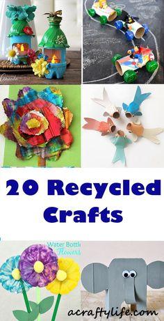 recycled kid crafts - acraftylife.com #preschool #craftsforkids #crafts #kidscraft