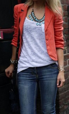 Spring/summer outfit: Denim, gray tee, coral jacket, turquoise statement necklace.