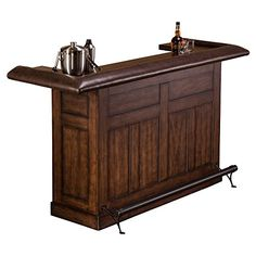 Hillsdale Furniture 6245LB Chiswick 785 Large Bar with 3 Doors Brown Faux Leather Elbow Rest Poplar MDF and Veneer Construction in Brown Cherry *** Want to know more, click on the image. (This is an affiliate link) #PatioFurnitureandAccessories
