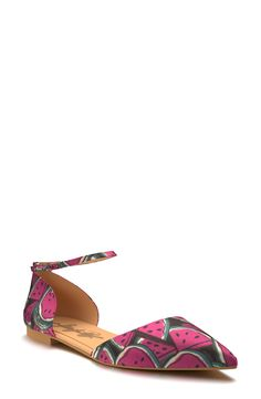 How cute are these d'Orsay flats with a bold watermelon pattern?