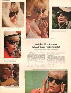 1966 Foster Grant sunglasses print ad features Elke by Vividiom Vintage Advertisements, Vintage Ads, Vintage Prints, Vintage Posters, Print Ads, Poster Prints, Foster Grant Sunglasses, Hippie Vibes, Fashion Catalogue