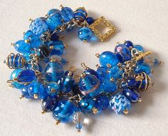 Blue Charm Bracelet on Gold Plated Chain | Flickr - Photo Sharing!
