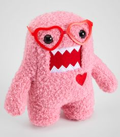 Pink Nerd Domo In Love Plush-- I see him every year, always intend to buy him, and never have yet, gah!
