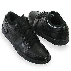 997284097e9c Nike Air Jordan Retro 1 Low Mens 553558-010 Black Leather Shoes Sneakers  Size 11