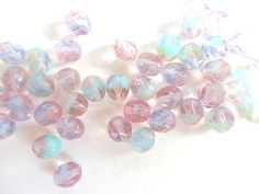 Czech Glass Beads 8mm Marbled Lilac and Pink Fire by Snoochy, £1.65