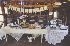 Food display with lace tablecloths