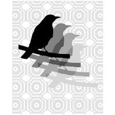 Geometric Bird Quad Silhouette  8 x 10 Print  in Black by Tessyla, $20.00