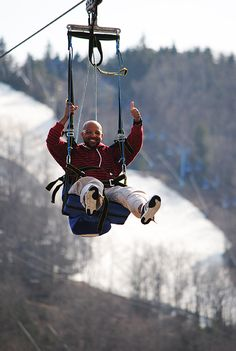 Take a ride on our 4000' Twin Zip-Flyers over the ski resort in the Pocono Mountains! #MyCamelback