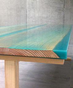 Live Edge Yew Wood Slab Coffee Table With Resin Inlay