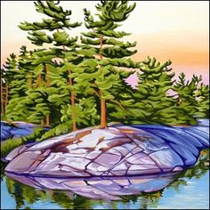 Tranquil Sunset, oil on canvas, 1 ft x Landscape Drawings, Landscape Pictures, Landscape Art, Landscape Paintings, Landscapes, Canadian Painters, Canadian Artists, Wildlife Art, Texture Art