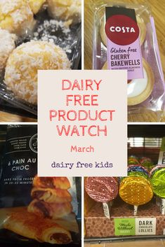 Dairy Free Product Watch March - round up of free from items from supermarkets and health stores. Peanut & Coconut Bars, Coconut Rounds, Chocolate Lollipops, Cherry Bakewells