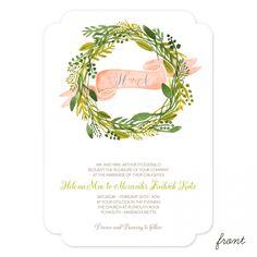 Sweet Greens Wedding Invitation   Smitten on Paper