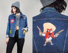 1970's WRANGLER Patched Jean Jacket DARK DENIM Embroidered Stitched pocket Novelty Cigarette Felix Rose sm / Med by NOIROHIOVINTAGE on Etsy https://www.etsy.com/listing/205239597/1970s-wrangler-patched-jean-jacket-dark