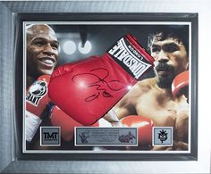 Authentic hand signed Floyd Mayweather Jr  boxing glove display. Excellent display for the up and coming 'fight of the Century'. Displayed in a large acrylic dome frame with quality silver wooden frame with triple black, silver mounts and a 3x printed brushed metal silver plaques. Hand signed in silver marker by the fighting legend. This item is stunning and really nicely framed. Comes with a certificate of authentication and photo proof