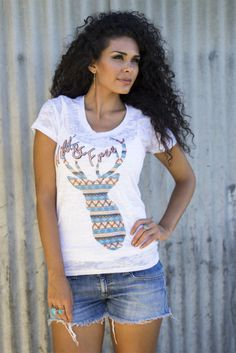 Wild & Free Bohemian Deer Buck Burnout Tee Shirt Original Cowgirl #OriginalCowgirl #Tee #Casual