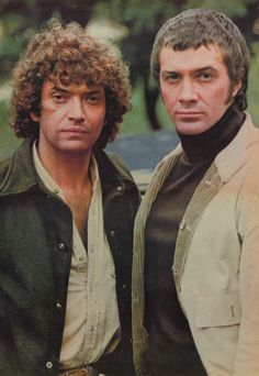 Martin Shaw and Lewis Collins! I used to skateboard at the South Bank, and one day they were filming the Professionals. Martin Shaw signed my skateboard. Saw Lewis Collins in Golders Green once and he winked at me! British Drama Series, British Actors, Beautiful Hair Color, Gorgeous Men, The Professionals Tv Series, The Sweeney, Martin Shaw, Retro, Classic Cartoon Characters