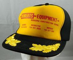 Vintage Snapback Trucker Hat Roberts Equipment Yellow/Black Scrambled Eggs Cap #WeCovertheWorld #Trucker