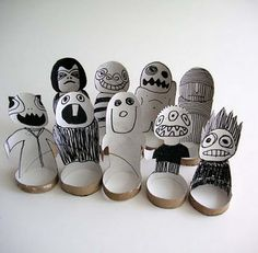 Finger puppets from toilet paper tubes. Could draw on the outside of the tube, too.