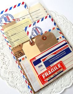 Airmail Ephemera Pack. 22 Pieces. Paper by ThePaperBasket on Etsy, $6.00