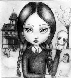 Wednesday Addams illustration draw original by ClaraTiengoArt