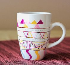 DIY sharpie mugs. Use any color/design you want then just bake at 350 degrees for 30 minutes! Via Craft Pond