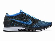 a0781429f7d Officiel Nike Flyknit Racer Chaussure de Running Nike Mixte Pas Cher Pour Homme  Noir Bleu 526628-001