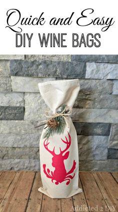 DIY Holiday Deer Wine Bag using Cutting Machine and Heat Transfer Vinyl (HTV)