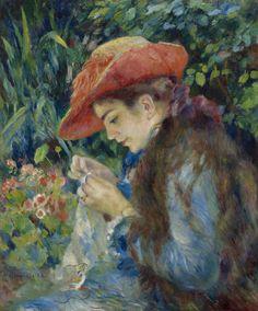[フリー絵画素材] ピエール=オーギュスト・ルノワール - 編み物をする女性 (1882) ID:201308291500