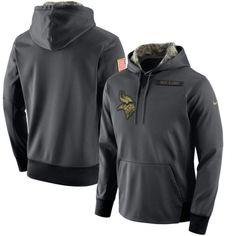 14a1f0ab479 Men's Minnesota Vikings Anthracite Salute to Service Player Performance  Hoodie