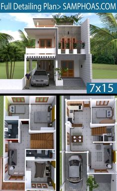 House Plans Idea with 4 bedrooms – Sam House Plans 2 Storey House Design, Duplex House Plans, Bungalow House Design, Small House Design, Modern House Design, Sims House Plans, House Layout Plans, Small House Plans, House Layouts