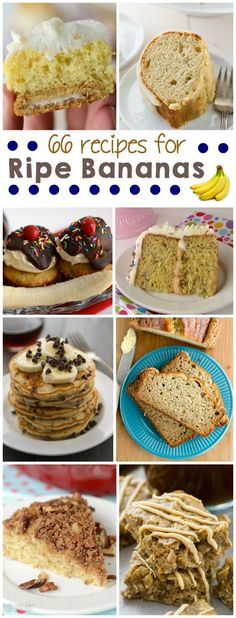 Over 66 ways to use overripe bananas. Cookies, bread, cakes, and so many more banana recipes!