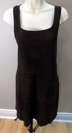 HACHE Light Leather Cotton Lined Brown Sleeveless Dress 42 = US 6 #Hache