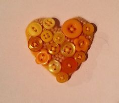 Textile Button Heart  Brooch in Sunny Yellow £8.00