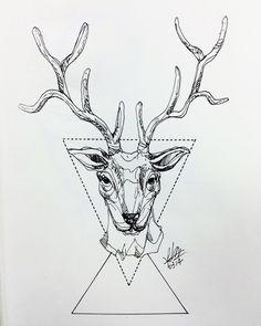 Geometric deer. Geometric Deer, Moose Art, Paintings, Tattoos, Drawings, Animals, Decor, Tatuajes, Animaux