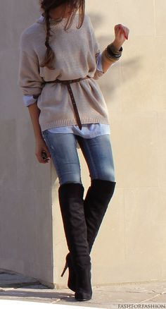 belted slouchy sweater + skinnies & OTK boots