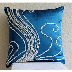 "Mother Of Pearls 18""X18"" Art Silk Blue Pillow Covers - Undersea Magic"